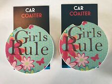 """A PAIR OF BRAND NEW """" GIRLS RULE """" STYLE ABSORBENT STONE CAR COASTERS"""