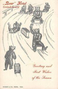 GRINDELWALD, SWITZERLAND, BEAR HOTEL ADV, ARTIST IMAGE OF BEARS SLEDDING c 1902