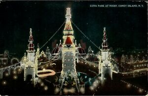 Coney Island Postcard Luna Park At Night