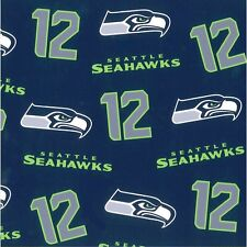 "SEATTLE SEAHAWK NFL Cotton Fabric Offset Design NEW! by the 1/2 yard ~ 58"" Wide"