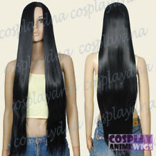 90cm Black Heat Styleable no bang Long Cosplay wigs 82_001