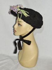 Victorian Horsehair Hat w Voilets Euc