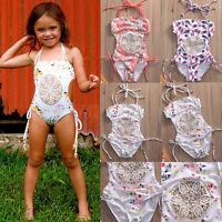 US Toddler Kids Baby Girl Splice Bikini One-Piece Swimwear Swimsuit Bathing Suit