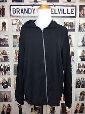 Brandy Melville LIGHTWEIGHT Faded Black Cotton zip Hooded windbreaker Jacket Nwt