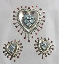 VTG Trifari Sterling Silver Heart Sunburst Red&Light Blue Pin Clip&Earrings Set