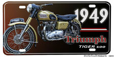 1949 Triumph Tiger 100 Motorcycle Design Aluminum License Plate