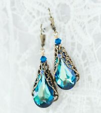 Crystal Filigree Earrings Bermuda Blue with Crystals from Swarovski