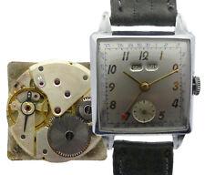 Depose acero caballeros-reloj pulsera suiza funcionan cuadrado 50er años