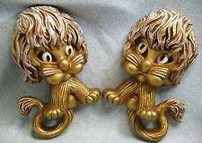 2 Vintage Homco Lion Wall Plaques Big Eyed Universal Statuary Corp 1970s