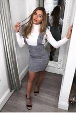 New Womens Bodycon Check Dog Tooth Frill Pinafore Ruffle Mini Check Dress