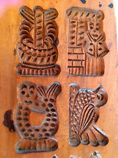 ANTIQUE VINTAGE WOOD SPRINGERLE MOLD COOKIE BOARD.  18 Figures