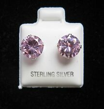 Round 8mm Pink Cubic Zirconia October Birthstone Silver Stud Earrings