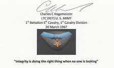 Vietnam Airmobile Medal of Honor Lt. Col. Hagemeister MOH SIGNED 3x5 CARD AUTO