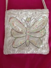 Cream Silky Sequin Beaded Fancy Party Bag From Bhs Butterfly