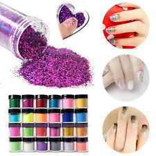 24 Jumbo Pot Nail Art Mix Color Glitter Powder Dust Acrylic UV Gel Manicure Tips