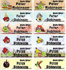 56 Angry Bird Personalised Name Label Sticker & Folder (46*15mm) Dishwasher Safe