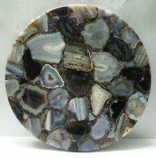 "18"" Natural Agate side Table Top semi precious stones marquetry Home decor"