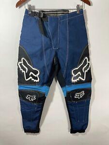 FOX Racing Motocross Dirt Bike Pants Blue Black Size 28 Waterproof Padded Knee