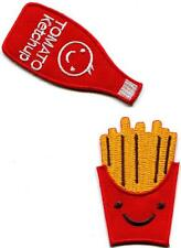 French Fries and Ketchup pair retro fun embr. appliques iron-on patches S-1314