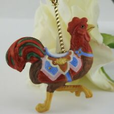 Vintage Lenox China Carousel ROOSTER Christmas Tree Ornament 1989 Doodle Doo