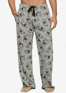 Disney Mens Winnie The Pooh Gray Red Sketch Guys Lounge Sleep PJ Pants NWT Large