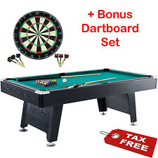 Billiard Pool Table Arcade Game Room Set Board Indoor Balls Cues Bonus Dartboard