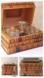 XL Crystal BACCARAT Whisky Liquor Set Tantalus French 1880 RARE Cuir Bound Books