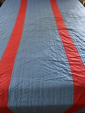 "VINTAGE Handmade Blue & Red QUILT Bedspread Twin Sz 81"" x 115"" #585"