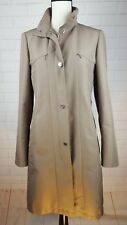 ADRIENNE VITTADINI Sz 6 Fitted Trench Coat Khaki Lined Full Zip Rain Jacket