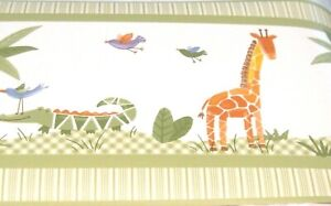 Savannah 30ft Kidsline Wallpaper Border Animals Elephant Giraffe Alligator Green