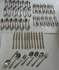 79 PIECES REED & BARTON STAINLESS FLATWARE IMPERIAL BEAD 12 PC PLACE SETTING +