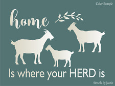 Joanie Stencil Home Where Your Herd Is Goat Family Wheat Farm Ranch DIY Art Sign