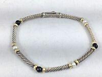 "Beautiful David Yurman Sterling,14K, Pearl & Onyx Cable Bracelet-7 1/2"""