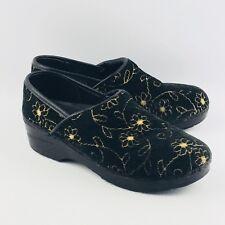 Womens Sanita 39 US 8.5-9 Brocade Clogs Black Gold Professional Shoes Flaws