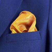 "Men's Geo Pocket Square 10"" Dress Fashion Wedding Handkerchief Gold Hanky"
