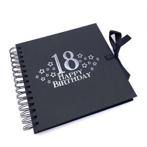 18th Birthday Black Scrapbook, Guest Book Or Photo album With Silver Script