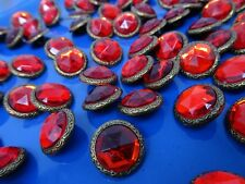 Vtg Candy Red Rhinestone w/ Metal  Border Shank Buttons 17mm Lot of 8 B118-10
