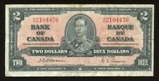 1937 Bank of Canada $2 Bank Note Rare Osborne Signature S/N: A/B2104470