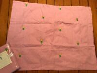 Lot of 2 Pottery Barn Kids Pink Oxford Embroidered Pineapple Pillow Shams New