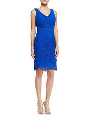 Sue Wong Embroidered Sleeveless Scalloped Cobalt Dress 2 New
