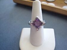 BEAUTIFUL 18K White Gold Ring with Large Square Amethyst sz 7 Ladies LQQK UNIQUE