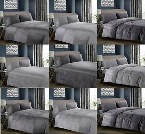 Crushed Velvet Duvet Cover Bedding Set with Pillowcase Charcoal Grey Grey Silver