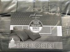 Sutton Home Fashion 6 Piece King Sheet Set, 1000 Thread Gray,Grey, MSRP $219
