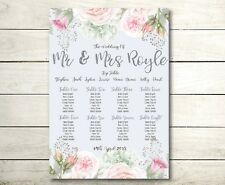 A2 floral Vintage style Wedding table seating plan (A3 also available)