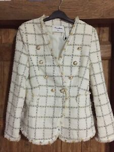 Ladies double breasted blazer, Chanel style, Cream check, M,BNWOT