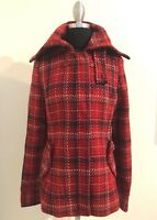 NEW Women's Red Plaid Wool Blend Coat Jacket Sz. Large