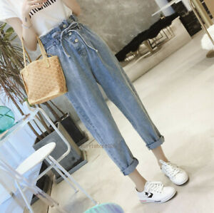 New Women Vintage Elastic High Waist Boyfriend Skinny Denim Jeans Pants Trousers