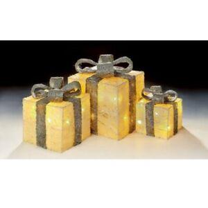 Set of 3 Light Up Parcels Warm White LED Rose Gold Christmas Boxes Decorative