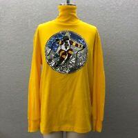 Colorado Skier Knit Top Shirt Women's L Yellow Beaded Turtle Neck Long Sleeve