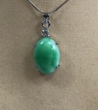 Natural Green jade Oval shape pendant ( without chain)